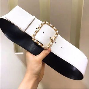 White Thick Big Rectangular Gold Chain Buckle Belt